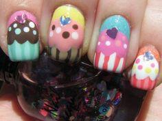 colorful cupcake nails.