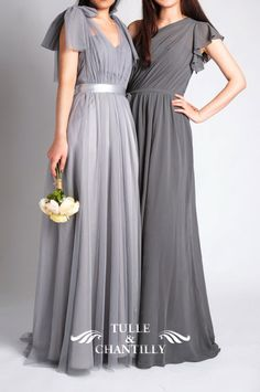 pale grey and charcoal tulle and chiffon bridesmaid dresses 2015 #bridesmaiddresses