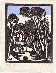 The garage, (circa by Margaret Preston :: The Collection :: Art Gallery NSW Margaret Rose, Margaret Preston, Linocut Prints, Art Prints, Block Prints, Lino Art, Art Programs, Art For Art Sake, Australian Artists