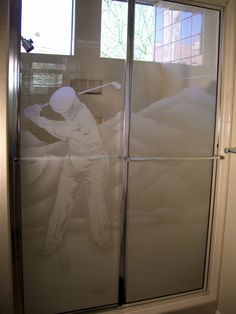 Desert Golfer Glass Shower Etched Glass Portraiture by Sans Soucie! Let Sans Soucie transform plain glass into a work of art for your bathroom! Glass Shower Enclosures, Glass Shower Doors, Memorial Cards, Custom Shower, Khalid, Glass Etching, Showers, Glass Art, Custom Design