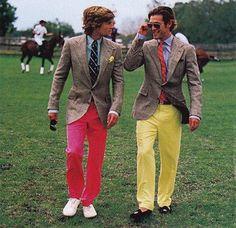 How a man should wear brights! So preppy. Preppy Boys, Preppy Style, My Style, Style Men, Preppy College, Retro Style, Bright Pants, Yellow Pants, Ralph Lauren