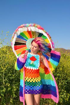 do you like pink wigs? Some where over the rainbow you will find your fav… Rainbow Outfit, Rainbow Fashion, Colorful Fashion, Crochet Clothes, Diy Clothes, Psychedelic Fashion, Crochet Jumper, Pride Outfit, Festival Accessories