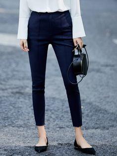 #AdoreWe #StyleWe Straight Leg Pants - Designer AMII Dark Blue Sheath Simple Pockets Straight Leg Pants - AdoreWe.com