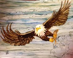 On wings as eagles. In alcohol ink by me, Laurie Henry. Copyright 2013