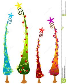 Illustration about An abstract clip art illustration of tall cartoonish Christmas trees in your choice of blue, green, red and gold topped with stars. Illustration of card, images, image - 3551175 Whimsical Christmas Trees, Grinch Christmas Decorations, Whoville Christmas, Christmas Tree Clipart, Christmas Tree Art, Christmas Rock, Christmas Card Crafts, Office Christmas, Christmas Drawing