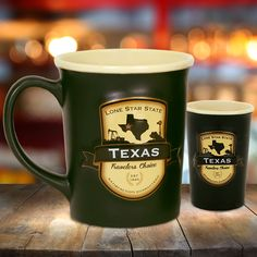 """EMBLEM MUG AND SHOT Generously sized two tone ceramic stein style mug and matching ceramic shot, features a beautiful black matte exterior and contrasting tan interior inspired by the """"black and tans"""" served in old time Irish pubs."""