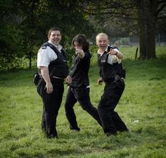 Nick Frost, Simon Pegg, and director Edgar Wright on the set of Hot Fuzz (2007)