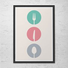 UTENSILS - Kitchen Art Poster Cutlery Minimalist Mid-Century Modern Art Print Giclee Print Ikea Ribba Kitchen Poster Eames Era Design Art