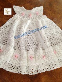 Baby Christening Dress, Crochet Baby White Dress, Baby Layers Dress, Crochet Baby Ruffle Dress, Crochet Baby Christening Dress via Etsy