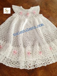 Baby Christening Dress, Crochet Baby White Dress, Baby Layers Dress, Crochet Baby Ruffle Dress, Crochet Baby Christening Dress via Etsy