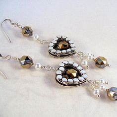 White pearl earrings with sterling silver by toofancyjewelry, $31.00