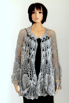 Gray Wraparound Shawl Crocheted Scarf  Womens by ettygeller, $97.00