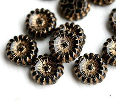 2 hole Glass beads  Black and gold lines wheel two by MayaHoney