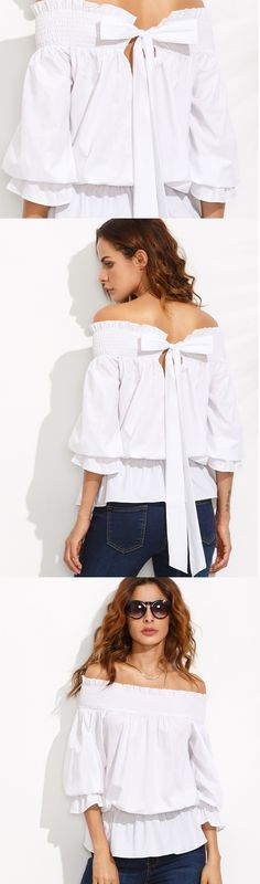 If you want to untie my bow... #White #OffTheShoulder #Bow #Tie #Back #Blouse