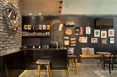Look at the brick Barber Shop Interior, Bar Interior, Pub Design, Pub Decor, Home Decor, Home Pub, Cafe Concept, Pub Bar, Office Makeover