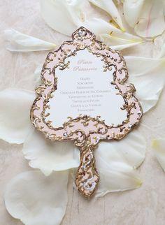 Fancy your menu in a Downton Abbey styled frame? From Style Me Pretty #weddingideas