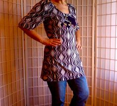 90 UpCycled Women's Clothing: Hipster Retro Tunic Boho by ArtzWear