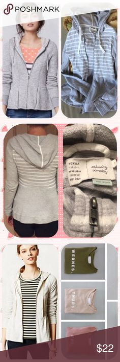 🌾 Anthropologie Saturday, Sunday Monday..... 🌾Cute easy going zip up sweatshirt top that is very well made with nice attention to simple details. Hooded versatile jacket with light use and some nubbing of fabric. (See photos of striped jacket for sale)👍 Anthropologie Other