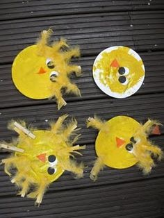 Funky paper plate chicks - feathers have to be pre-glued to pins before starting. Possibly can get mini clothes pins from Japanese dollarstore, Daisio (sp)