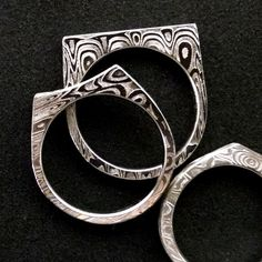 Dainty Damascus Slice, Stacking Rings. By Chris Ploof.