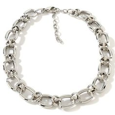 """Stately Steel Square and Circle Link 15-1/2"""" Necklace at HSN.com."""