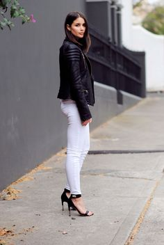 leather jacket + white jeans #minimal #style