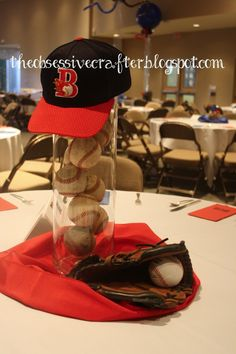 Scott Ideas for a baseball bridal shower! Baseball centerpiece on The Obsessive Crafter: Party Post: Sports themed Bar Mitzvah Baseball Centerpiece, Sports Centerpieces, Baby Shower Centerpieces, Baseball Decorations, Centerpiece Ideas, Graduation Table Centerpieces, Music Centerpieces, Bar Mitzvah Centerpieces, Wedding Centerpieces