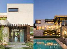 modernes Strandhaus mit Flachdach und großformatigen Fenstern