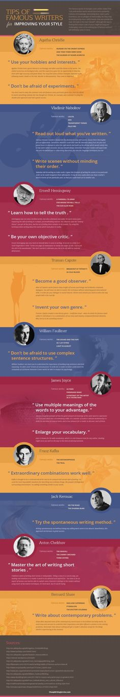 Writing tips from famous authors #infographic