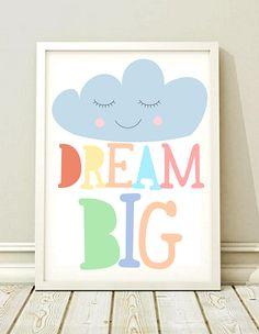 82149495955da plakat obrazek DREAM BIG prezent A3 - black-dot-studio - Plakaty dla dzieci