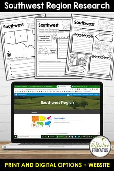 Southwest Region - one of the 5 regions of the United States - is a research project for students in grades 2-4. With this one easy lesson, your students can learn to complete a short research project. Included in this fun resource is a link to the Reference Website created exclusively for this project. The website is kid-friendly and ad-free. When you purchase Southwest Region, you get BOTH print and digital options making it easily compatible with Google Classroom™ and distance learning. Reference Website, Daily Lesson Plan, Create Website, Research Projects, Upper Elementary, Google Classroom, Social Studies, Distance, Remote