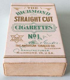 Empty Cigarette Pack (Allen & Ginter) - Richmond Straight Cut Cigarettes | eBay