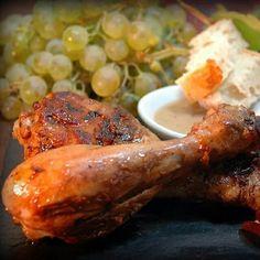 Muslitos de pollo con salsa de mostaza y zumo de uva