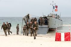Landing craft from Marine National ship Siroco disgorges marine commandos, during Franco/German Excercise SPONTEX 13, May 2013.