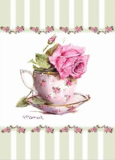 Rose covered tea cup holding a big pink rose and bordered by green stripe with small repeated roses.