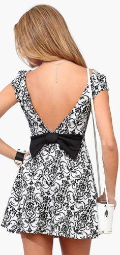 Black & White Bow Dress. Dress needs to be a bit longer but cute ♥