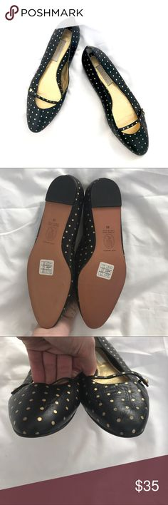 Lulu Guinness Black & Gold Polka Dot Leather Flats Never been worn! Minor wear on upper from being packed away, but other than that these are in excellent condition! Leather upper with gold painted polka dots and leather sole. Made in Spain. Bundle to save 20% off your purchase, and I love offers! Lulu Guinness Shoes Flats & Loafers