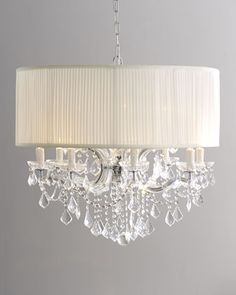 "Shaded ""Cascade"" Chandelier - Horchow.  This would be beautiful for the bedroom."