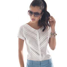 Women's Linen Diagonal Pleat V-Neck Shirt #womensfashion #womensshirt #girlsshirt #naracamicie #nara #style #fashion #photooftheday #beautiful #picoftheday #style #pretty #beauty #hot #cool #girls