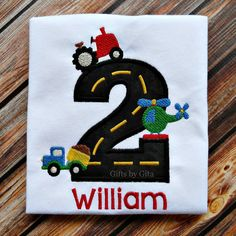Embroidered birthday shirt transportation theme by GiftsbyGita