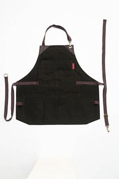 Tool Apron  Forest Green Waxed Canvas  Brown Leather