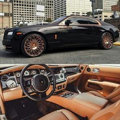 "Rolls with 24"" Gold Lexani wheels"