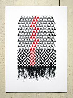 Red and black geometric print (Fine Mat) - Pacifika inspired print by Erupt Prints. Black abstract a Maori Patterns, Knitting Patterns, Graphic Prints, Art Prints, Graphic Design, Maori Designs, New Zealand Art, Nz Art, Maori Art