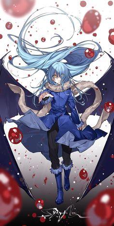 Blue Hair Anime Boy, Cool Anime Girl, Anime Art Girl, Fantasy Character Design, Character Art, Kawaii Anime, Slime Wallpaper, Manga Characters, Animes Wallpapers