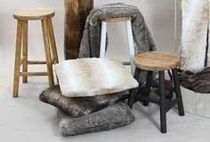 Solid wooden Turner Stools and luxurious Faux Fur Cushions and throws Bar Stools, Faux Fur, Cushions, Living Room, Luxury, Furniture, Home Decor, Bar Stool Sports, Throw Pillows