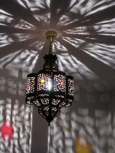 Moroccan Fluted Pierced Iron Lantern With Coloured Glass Shade Only And Can Easily Be Wired To Take A Bulb Will Require Hook Hang From The Ceiling