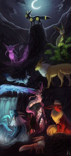I love this Eeveelutions fanart. <3 #Pokemon #Eevee #Eeveelutions #fanart #Beautiful