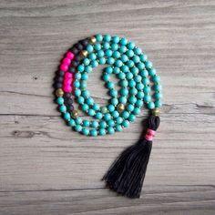 Turquoise Beaded Tassel Necklace by YeahImadeitblog on Etsy, $40.00
