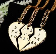 New collier choker necklace heart pendant pieces broken three best friend forever necklace women necklace jewelry collares mujer(China (Mainland)) Bff Necklaces, Best Friend Necklaces, Best Friend Jewelry, Diamond Necklaces, Friendship Necklaces, Diamond Choker, Jewelry Bracelets, Jewelry Watches, Collier Best Friends