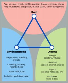 Epidemiologic Triad. interaction between all three cause disease to occur.